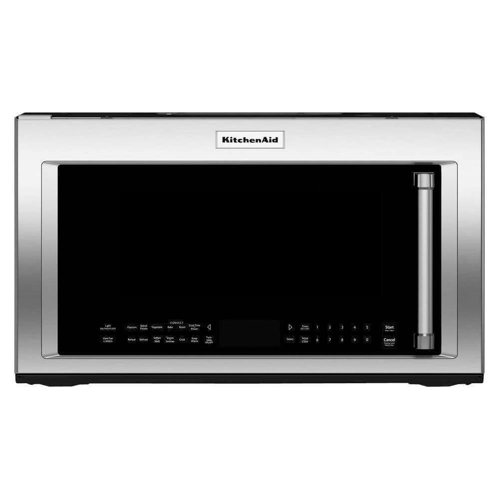 Front view of the 1.9 cubic foot stainless steel KitchenAid ORT microwave- KMHC319ESS