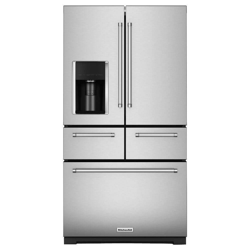Front view with the doors closed of the 25.8 cubic foot stainless steel KitchenAid french door refrigerator- KRMF706ESS