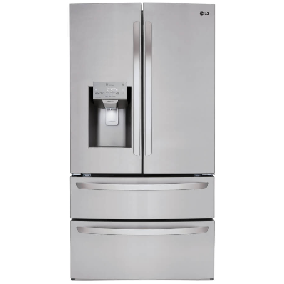 Front view of the 28 cubic foot stainless steel LG 4-door french door refrigerator- LMXS28626S