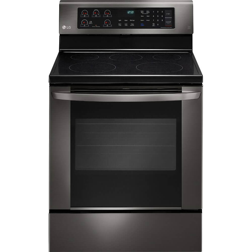 Front view of the black stainless LG electric range- LRE3061BD