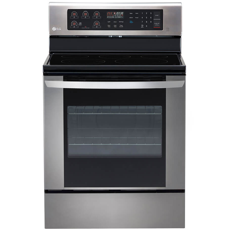 Front view of the 6.3 cubic foot stainless steel LG electric range- LRE3060ST