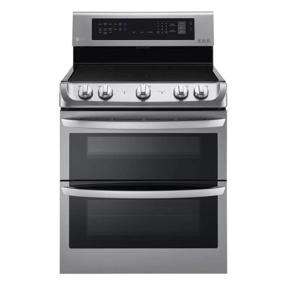 Front view of the 7.3 cubic stainless steel LG electric range- LDE4413ST