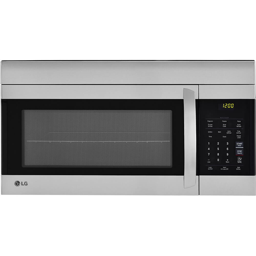 Front view of the 1.7 cubic foot stainless steel LG OTR microwave- LMV1762ST