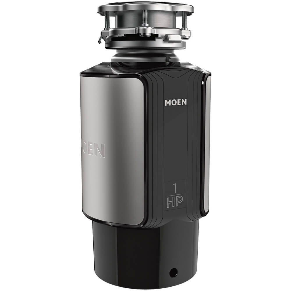 Front view of the 1 horse power garbage disposal by Moen- GX100C