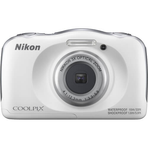 Front view of the white, waterproof Nikon Coolpix 13.2 mega-pixel digital camera- W100WH