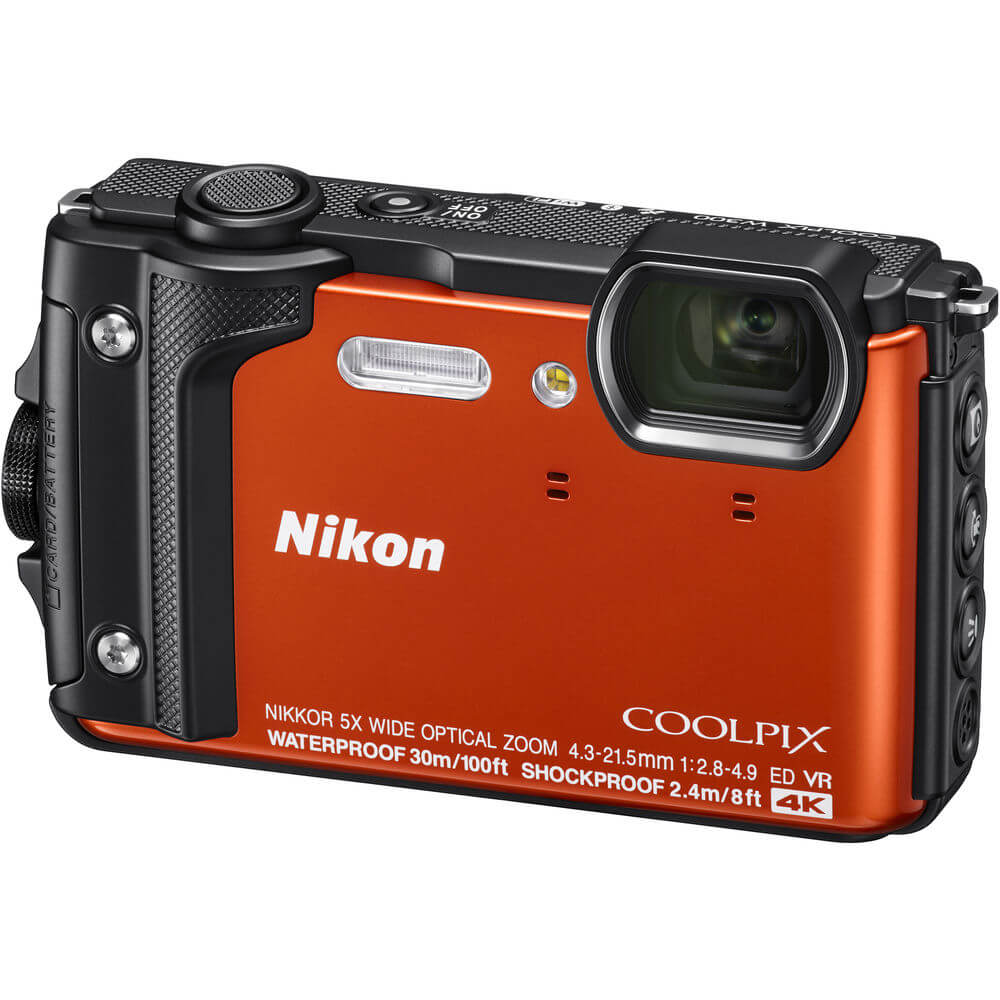 Angled front view of the orange Nikon Coolpix W300 waterproof digital camera- W300OR
