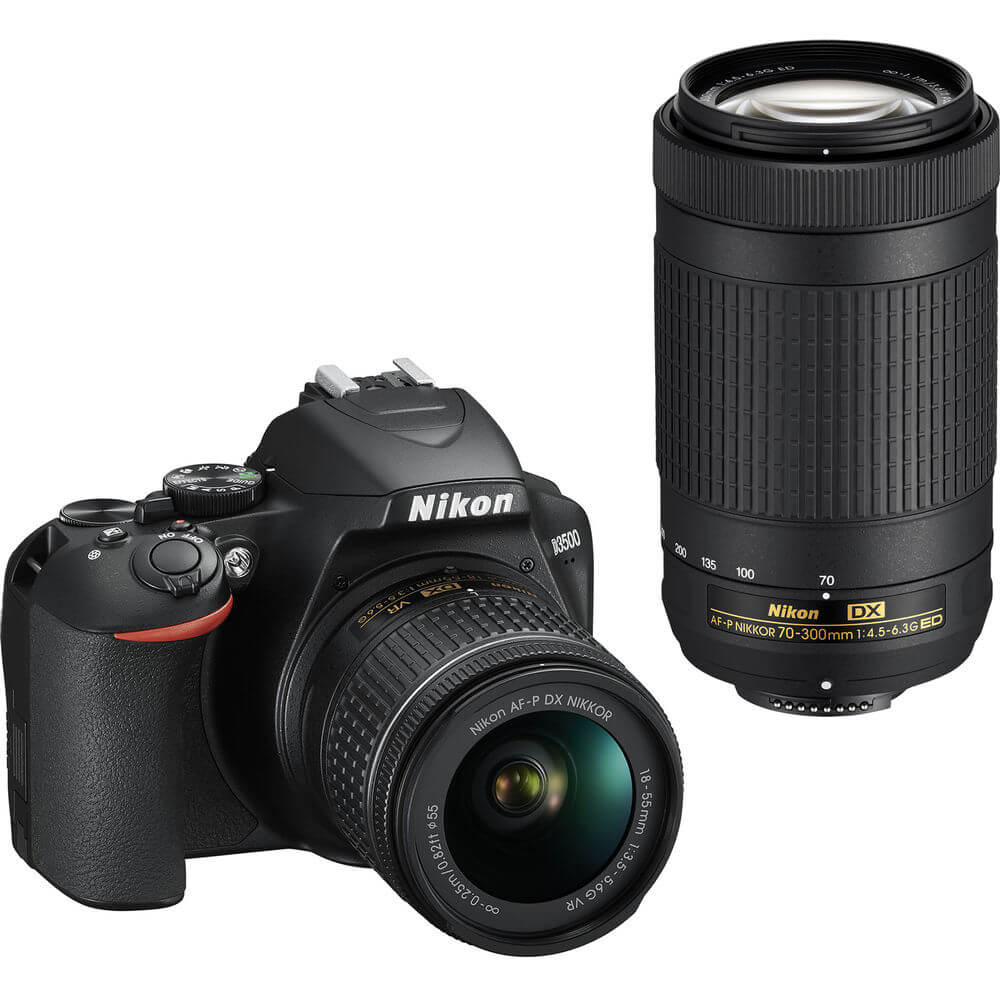 Angled front view of the Nikon DSLR camera with two lenses- D3500BUND