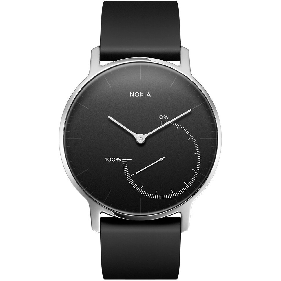 Front view of the black Nokia activity tracking smart watch- HWA01BLK
