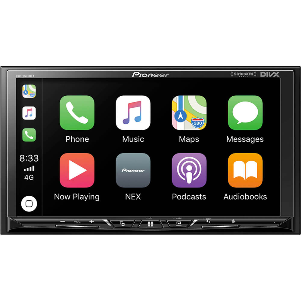Front view of the double din Pioneer car radio specd with a 7 inch touchscreen, Apple CarPlay & Android Auto, back-up camera input, and built-in bluetooth- DMH1500