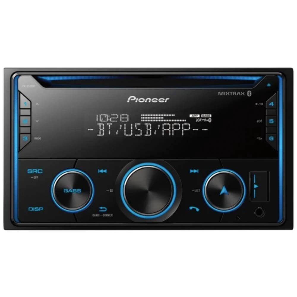 Front view of the double DIN Pioneer CD car radio with built-in bluetooth- FHS520