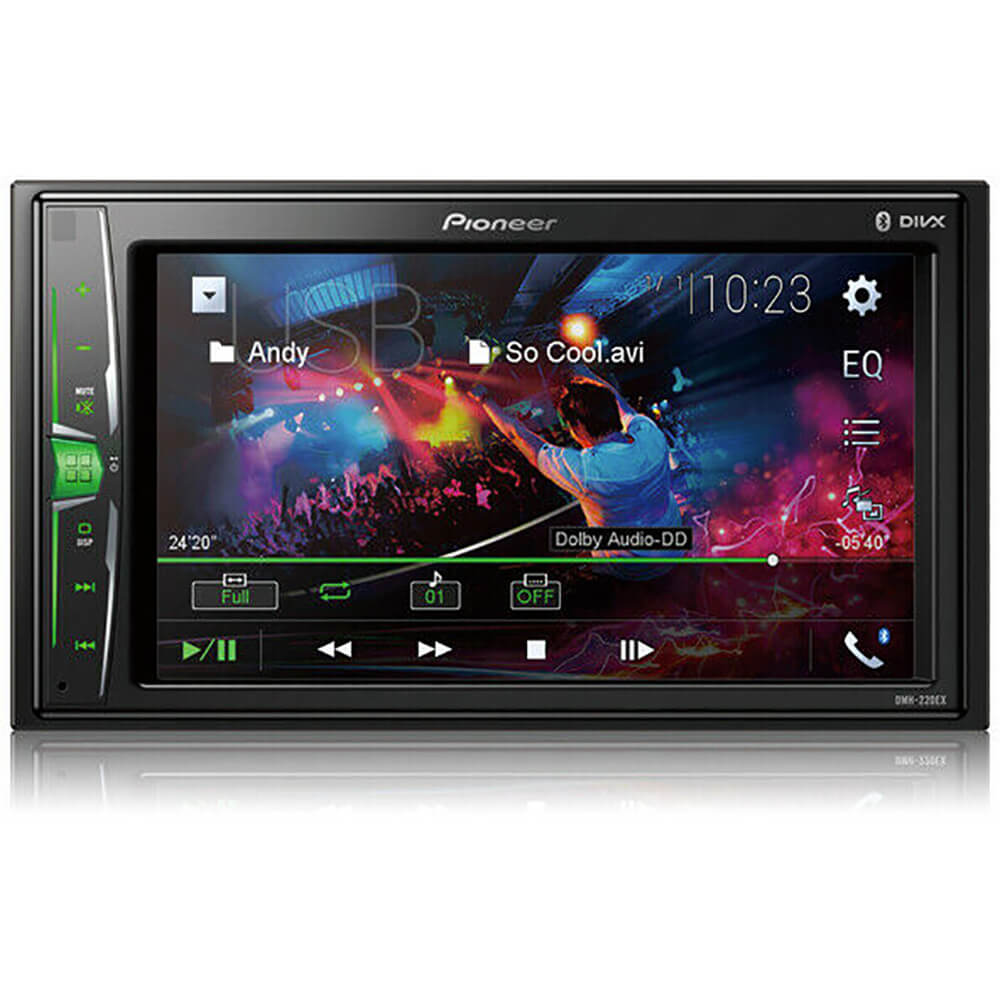 Front view of the double DIN Pioneer car radio specd with a 6.2 inch touchscreen, back-up camera input, and built-in bluetooth- DMH220