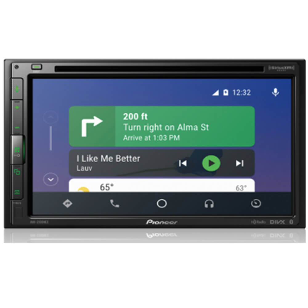 Front view of the double din Pioneer car radio specd with a 7 inch touchscreen, DVD receiver, Apple CarPlay & Android Autio, and built-in bluetooth- AVH2500