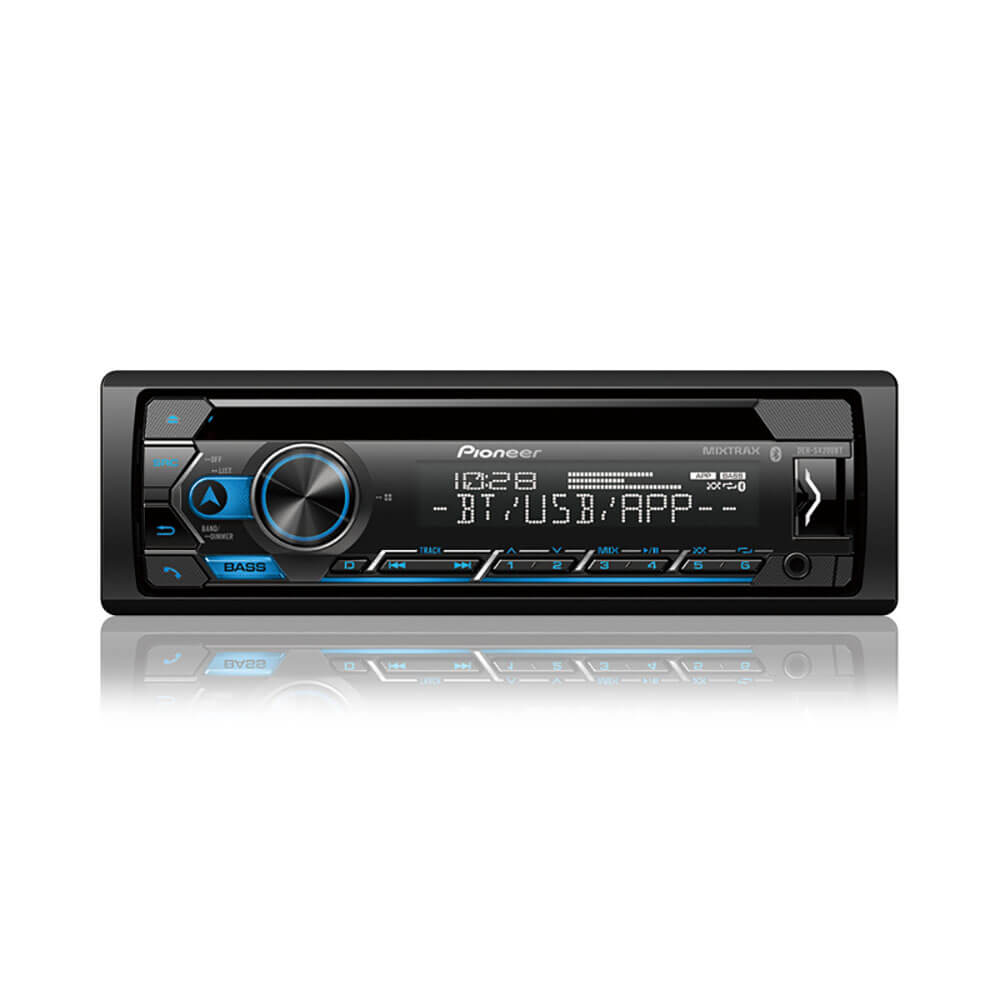 Front view of the single DIN Pioneer CD car radio with built-in bluetooth- DEHS4200