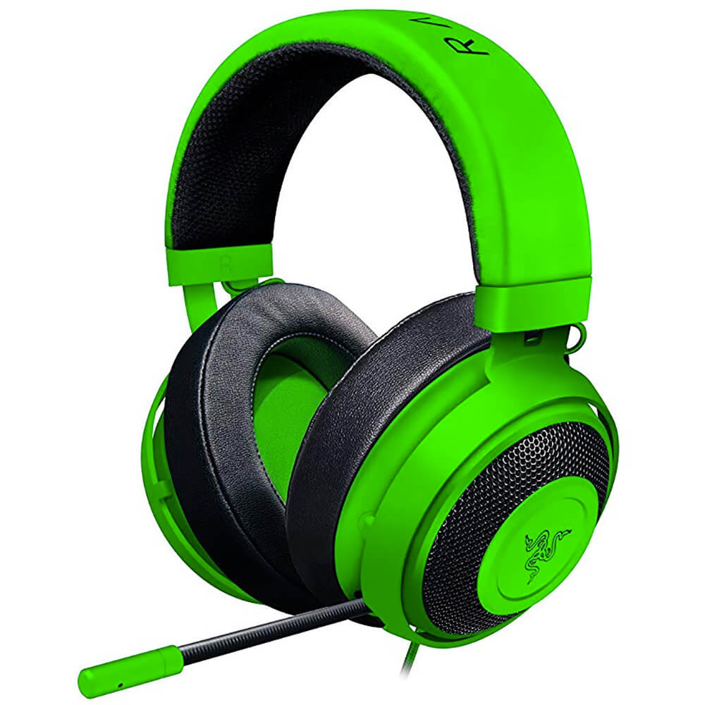 Angled side view of the Razer Kraken gaming headset featuring 50mm drivers