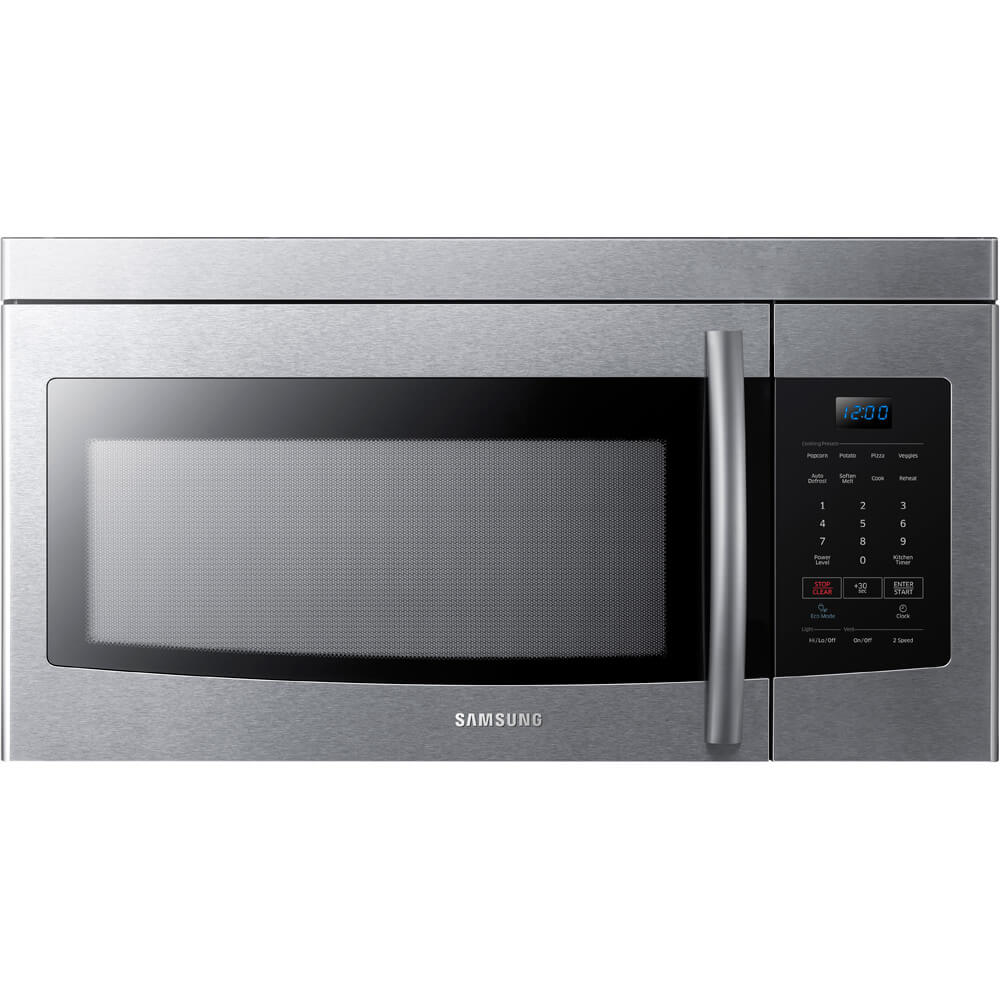 Front view of the 1.6 cubic foot stainless steel Samsung 1000 watt microwave- ME16K3000AS