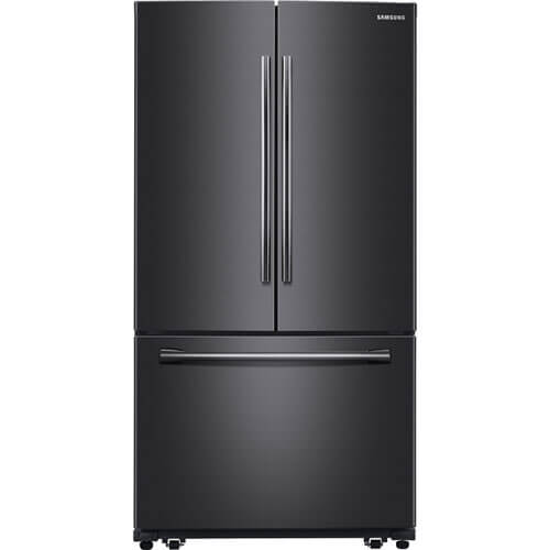 Front view of the 26 cubic foot, black stainless Samsung french door refrigerator- RF260BEAESG
