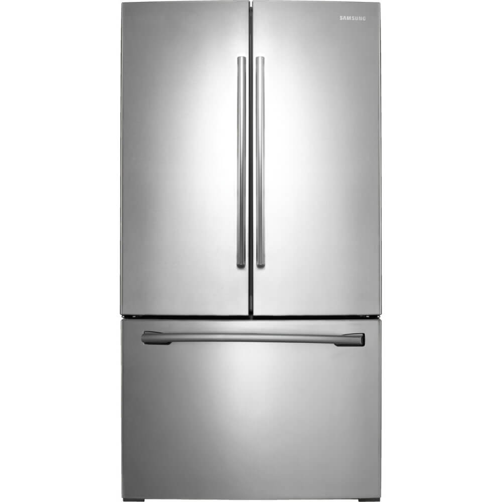 Front view of the 26 cubic foot stainless steel Samsung french door refrigerator- RF260BEAESR