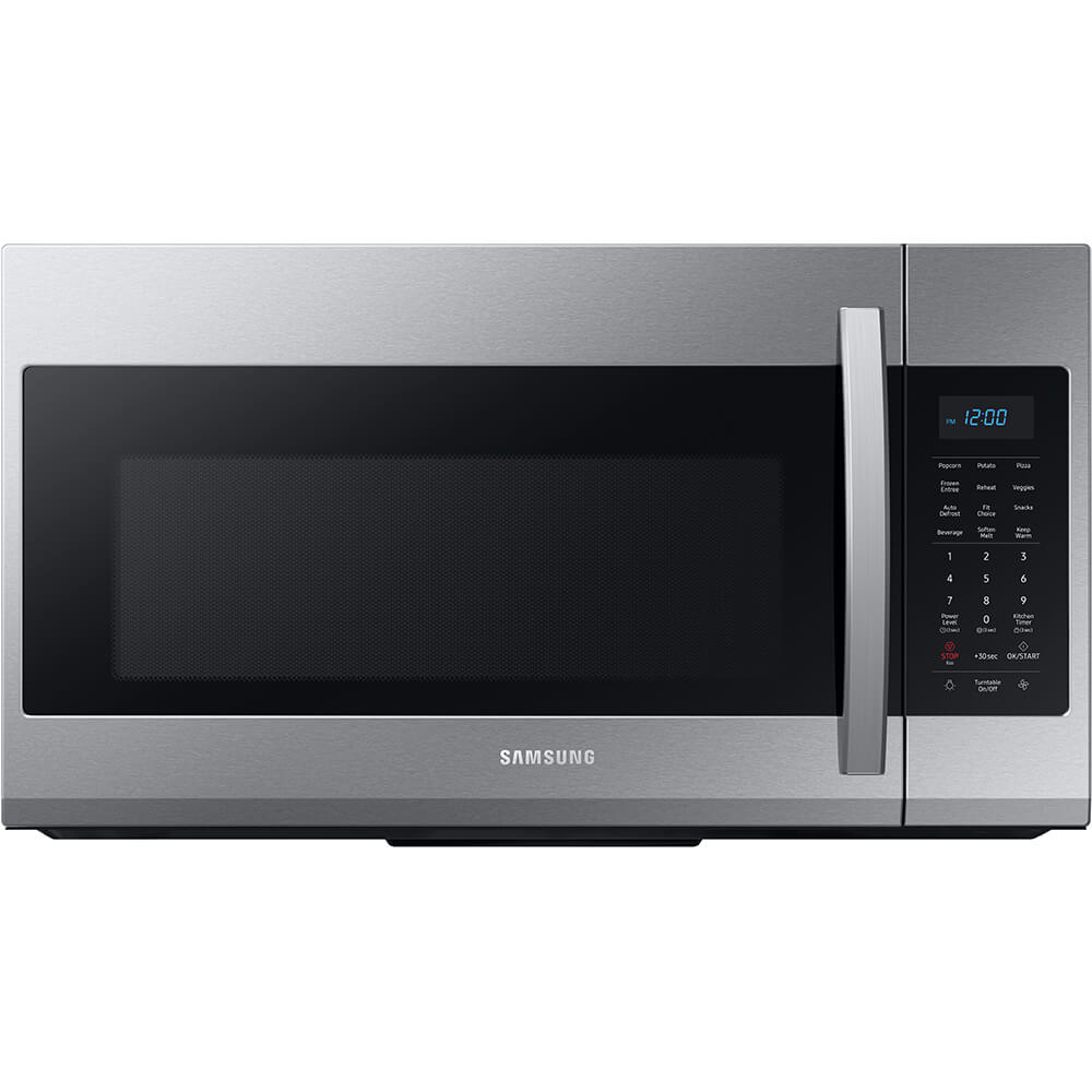 Front view of the 1.9 cubic foot stainless steel Samsung OTR microwave- ME19R7041FS