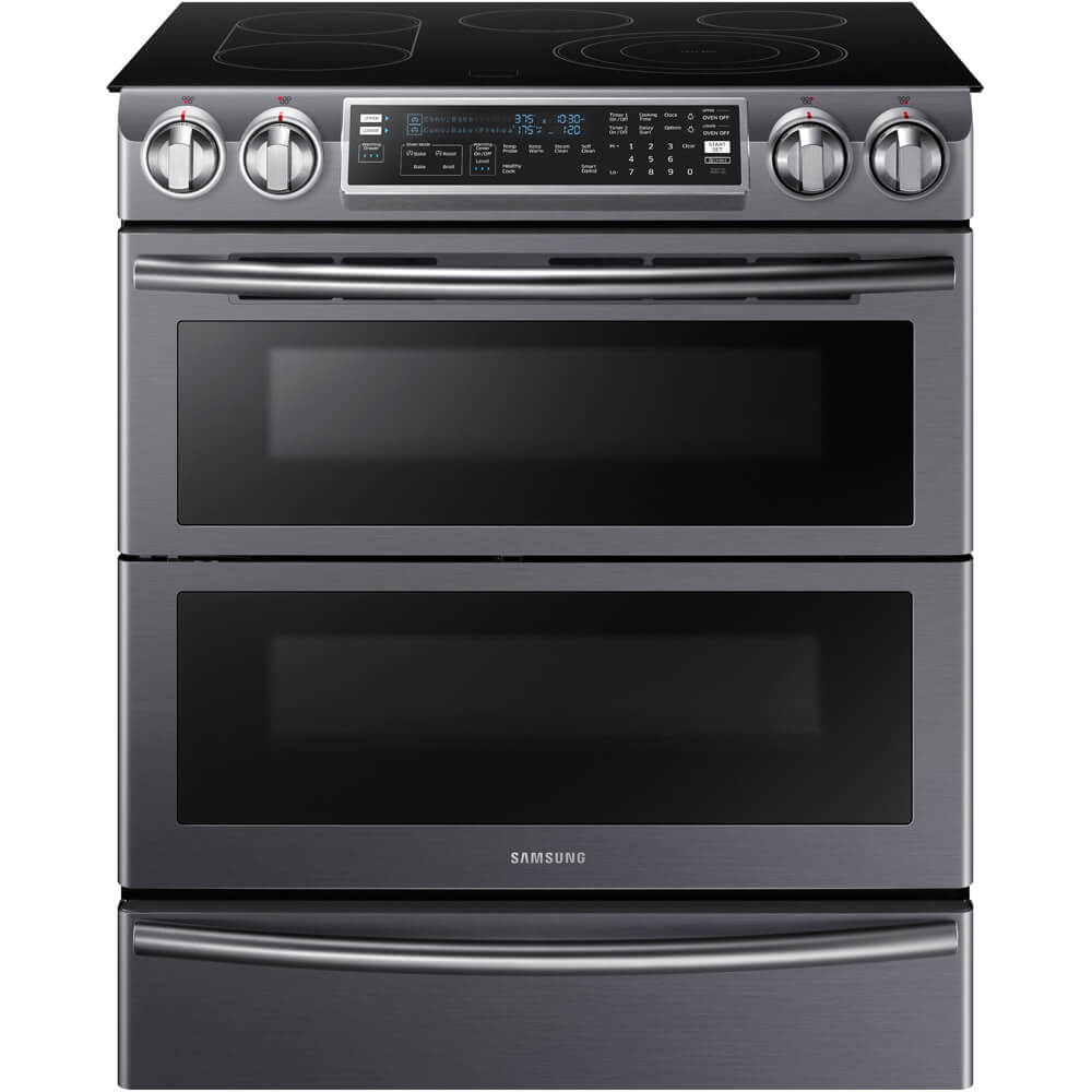 Front view of the 5.8 cubic foot black stainless Samsung electric slide-in range- NE58K9850WG