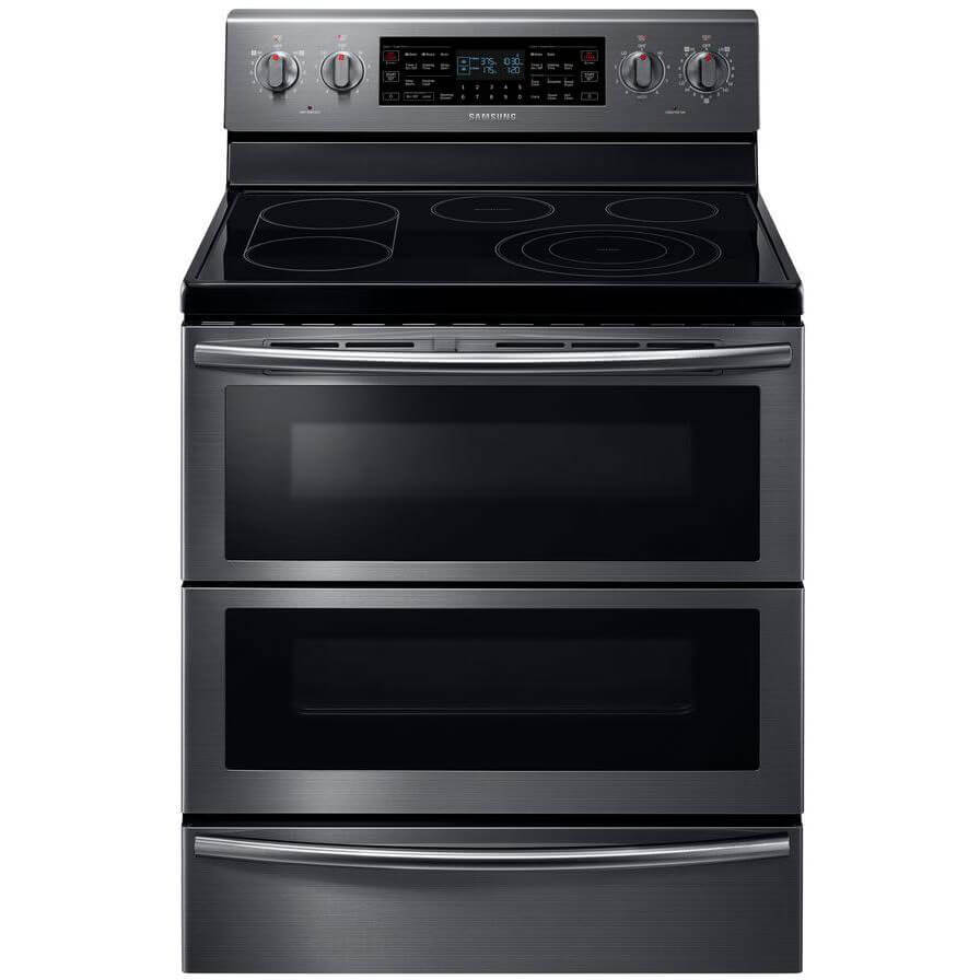 Front view of the 5.9 cubic foot black stainless Samsung flex-duo range- NE59J7850WG