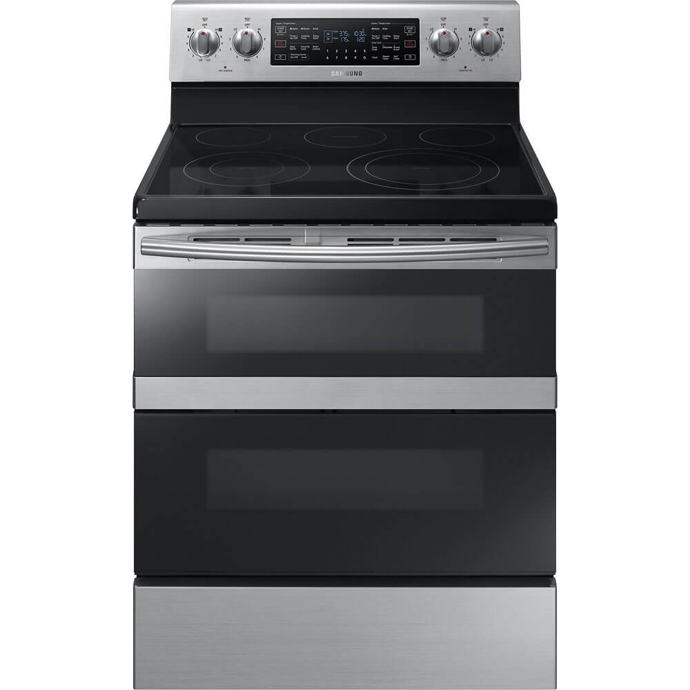 Front view of the 5.9 cubic foot stainless steel Samsung flex duo electric range- NE59M6850SS