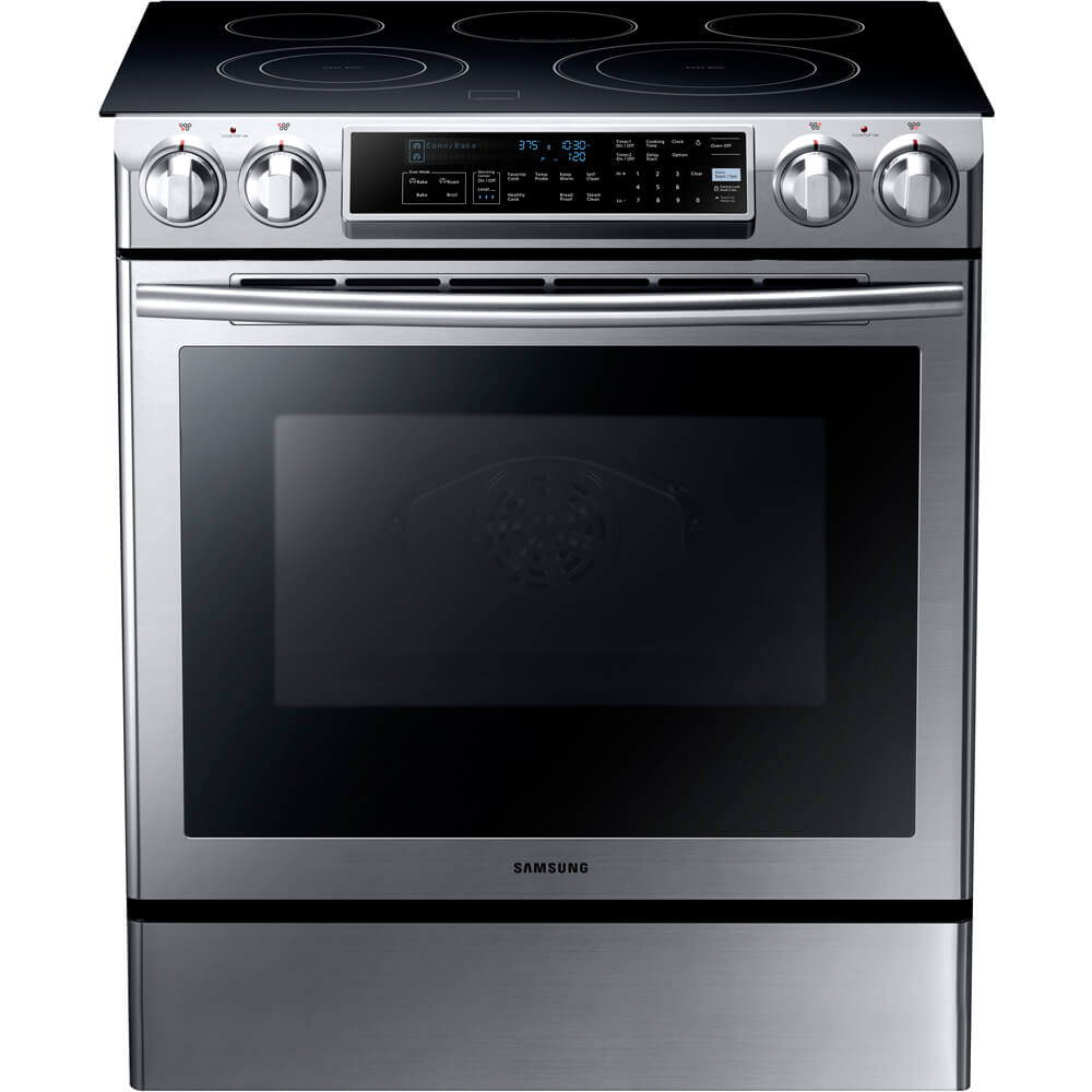 Front view of the 5.8 cubic foot stainless steel Samsung slide-in range- NE58F9500SS
