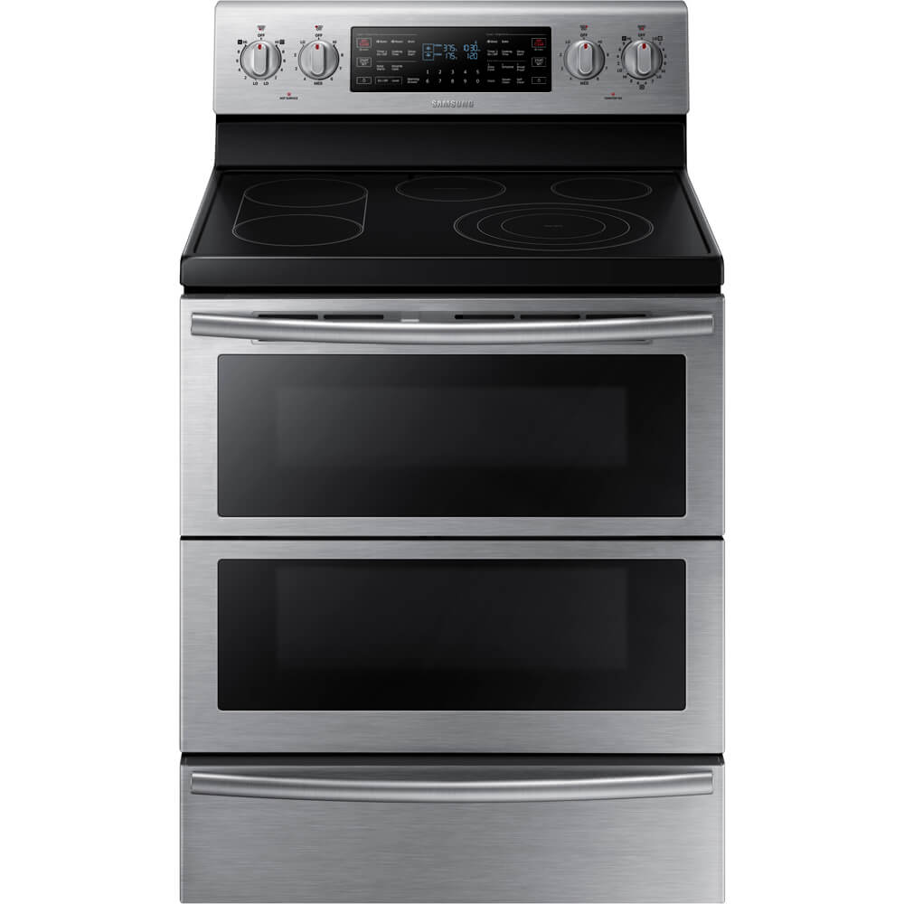 Front view of the 5.9 cubic foot stainless steel Samsung flex-duo range- NE59J7850WS
