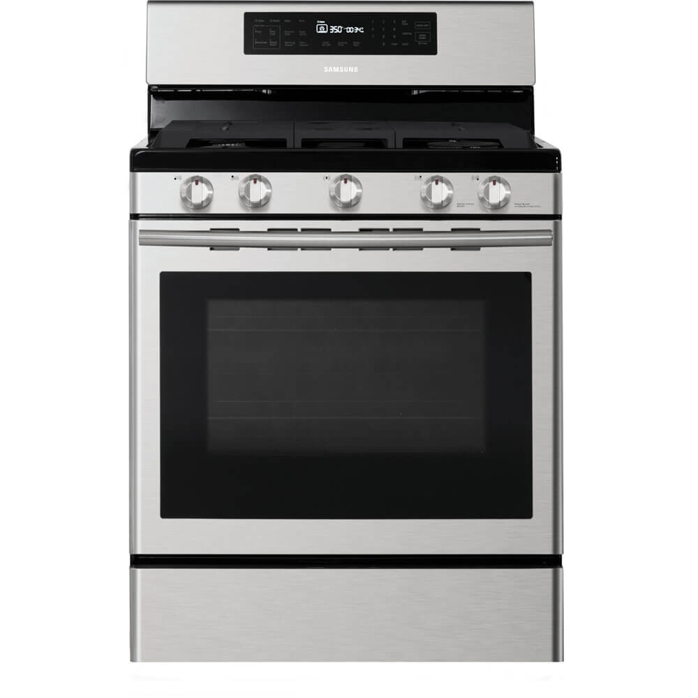 Front view of the stainless steel Samsung freestanding gas range- NX58H5600SS