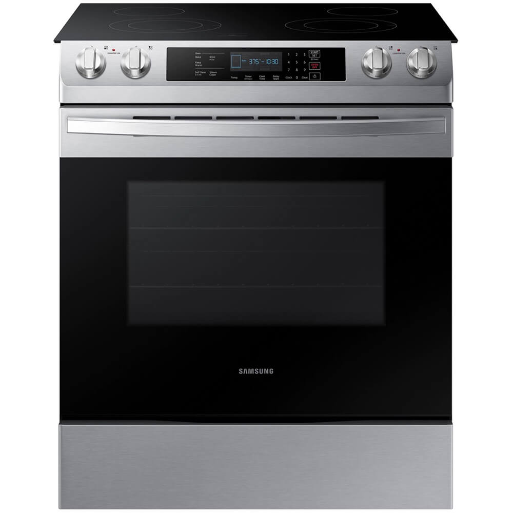 Front view of the 5.8 cubic foot stainless steel Samsung slide-in electric range- NE58R9311SS