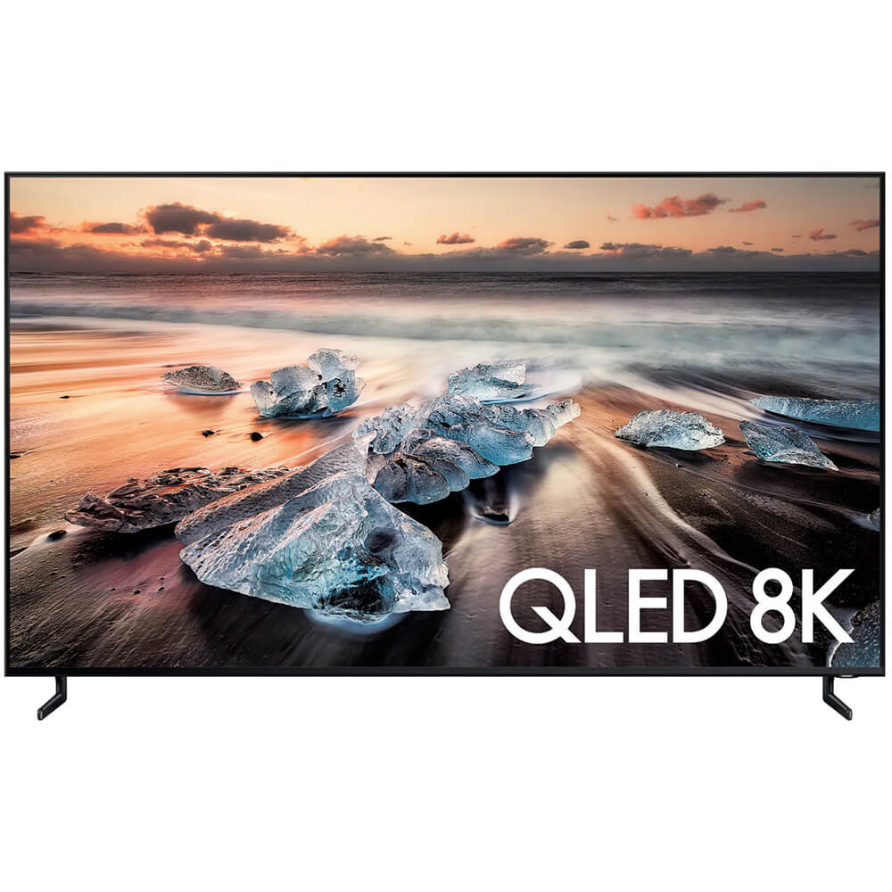 front view of the samsung 8k qled smart tv model number qn55q900r