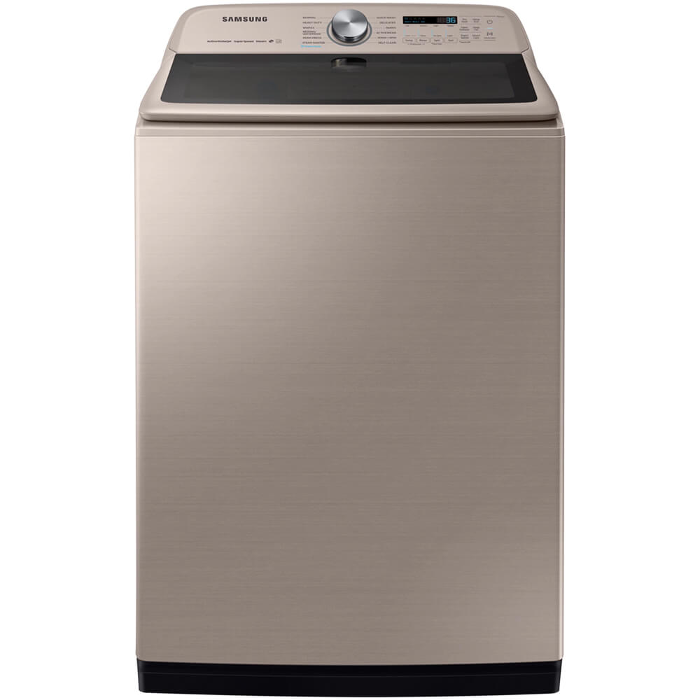 Front view of the champagne colored Samsung top load washer with 5.4 cubic foot capacity- WA54R7600AC