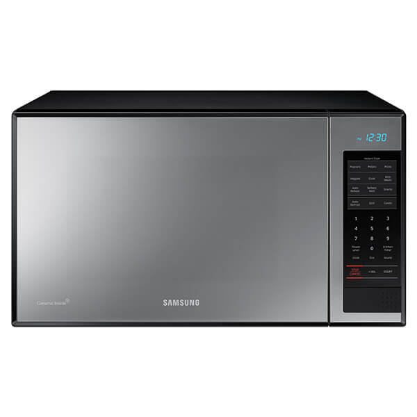 Front view of the 1.4 cubic foot Samsung counter top microwave with a shiny mirror design- MG14H3020CM