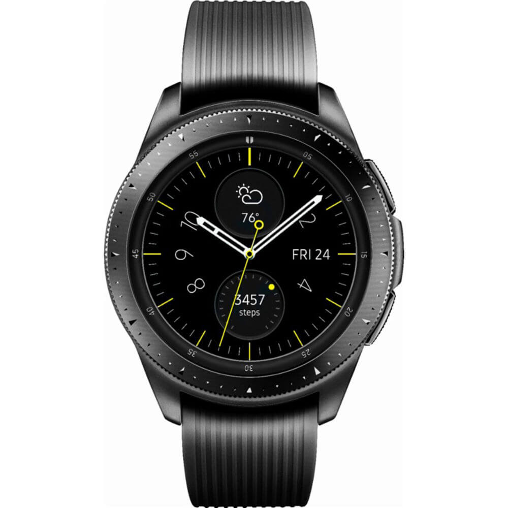 Front view of the midnight black Samsung Galaxy 42 millimeter smart watch- SMR810NZKAXA