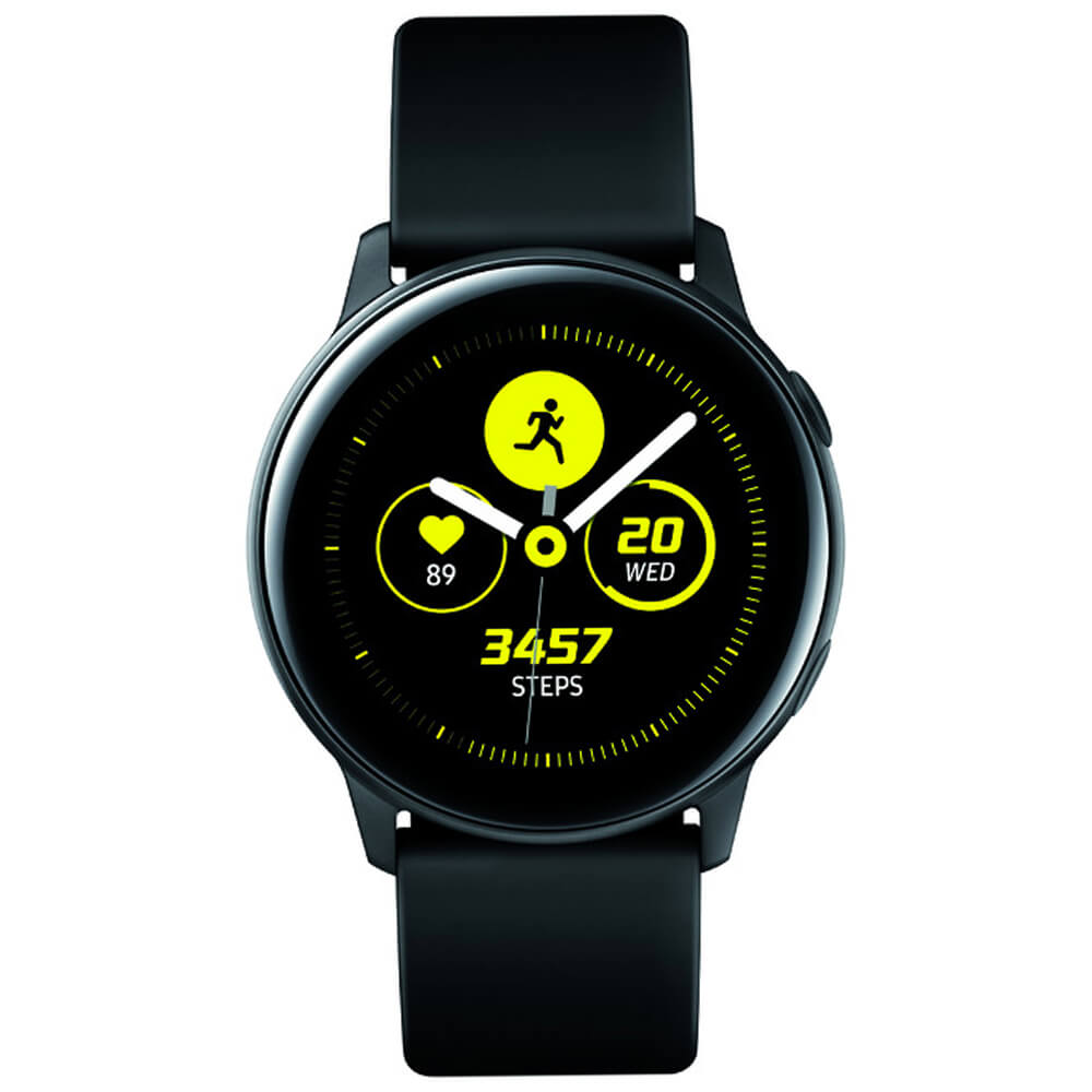 Front view of the black Samsung Galaxy Active smart watch- SMR500NZKAXA