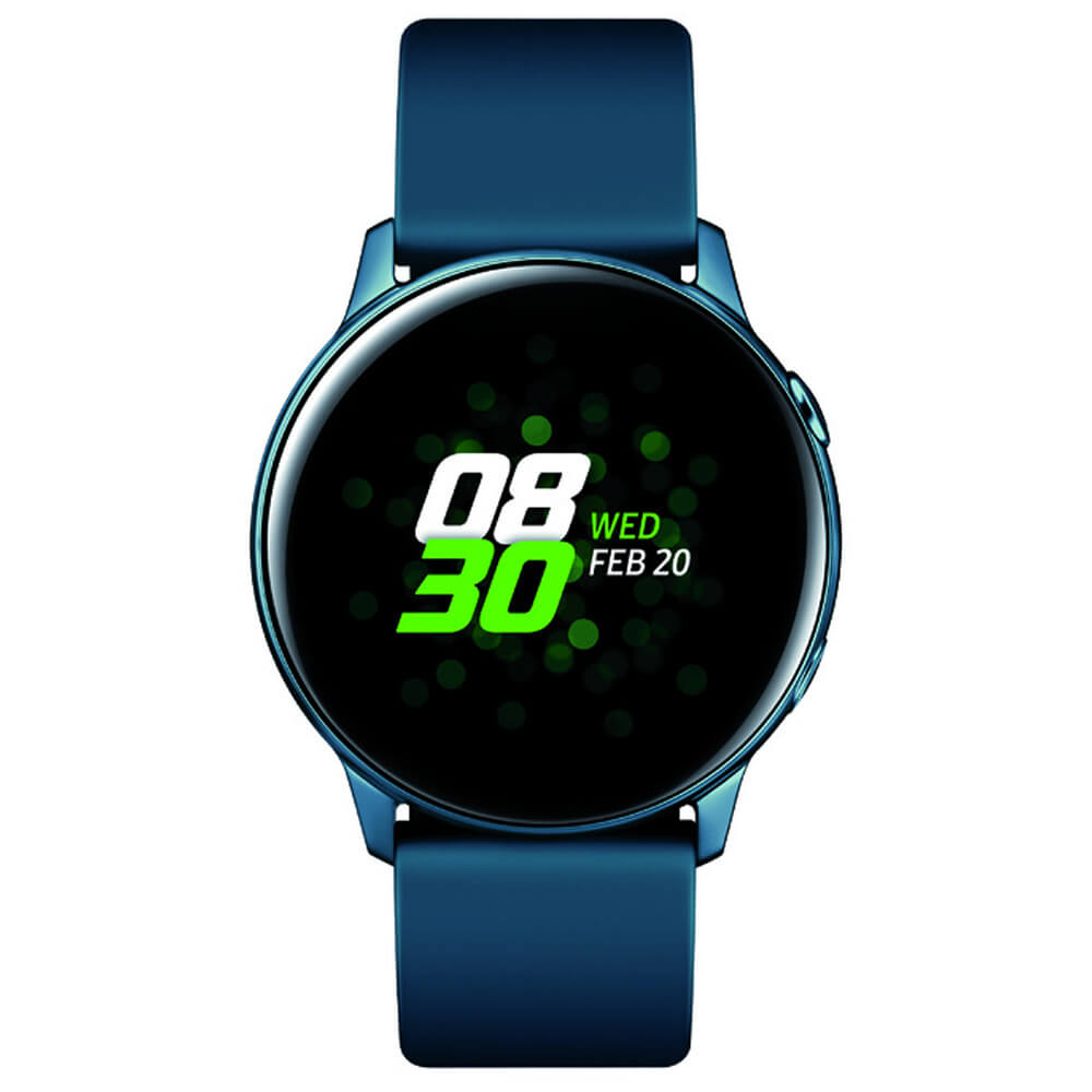 Front view of the green Samsung Galaxy Active smart watch- SMR500NZGAXA