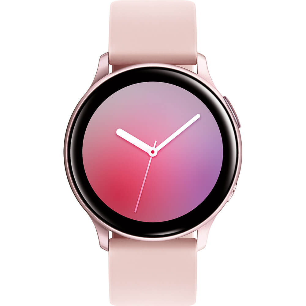 Front view of the pink gold Samsung Galaxy Active2 smart watch- SMR820NZDAXA