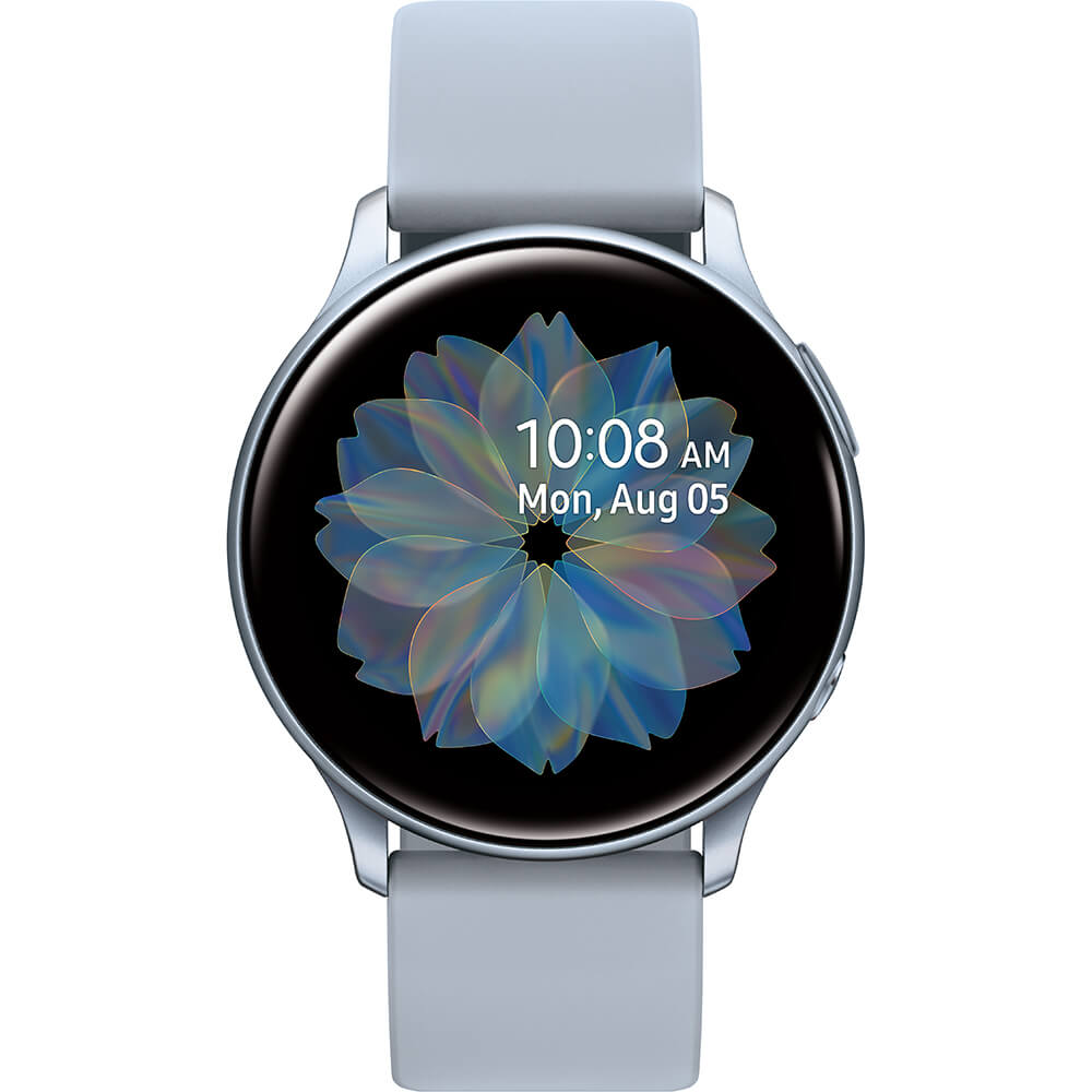 Front view of the could silver Samsung Galaxy Active2 smart watch- SMR830NZSAXA