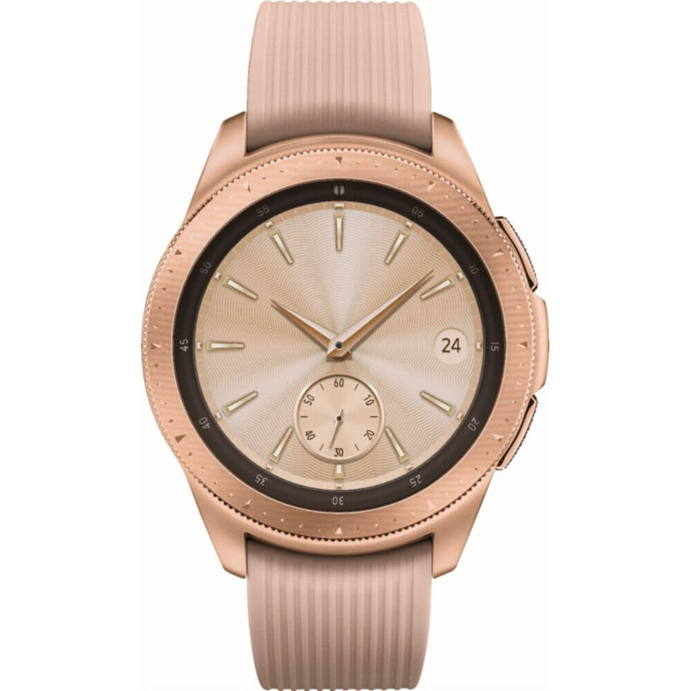 Front view of the rose gold Samsung Galaxy 42 millimeter smart watch- SMR810NZDAXA