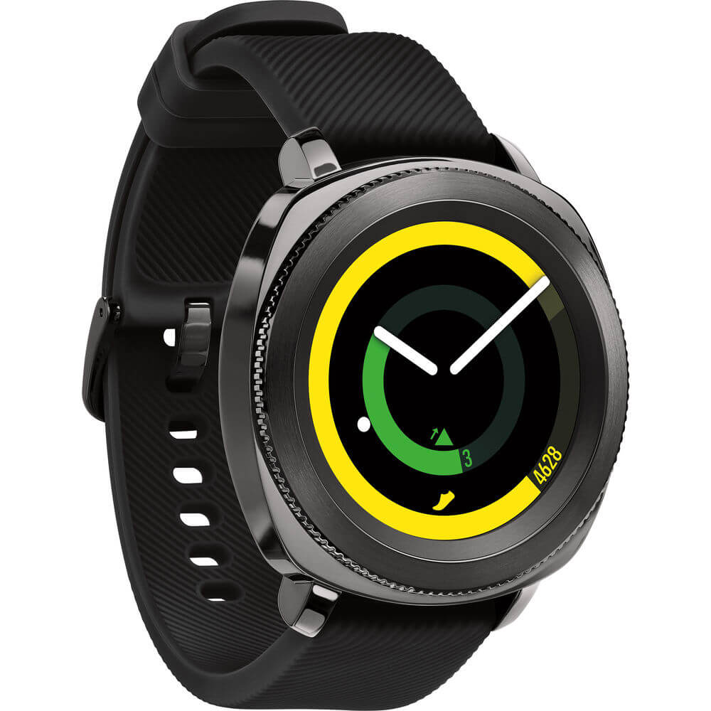 Angled front view of the black Samsung Gear Sport smart watch- SMR600NZKAXA
