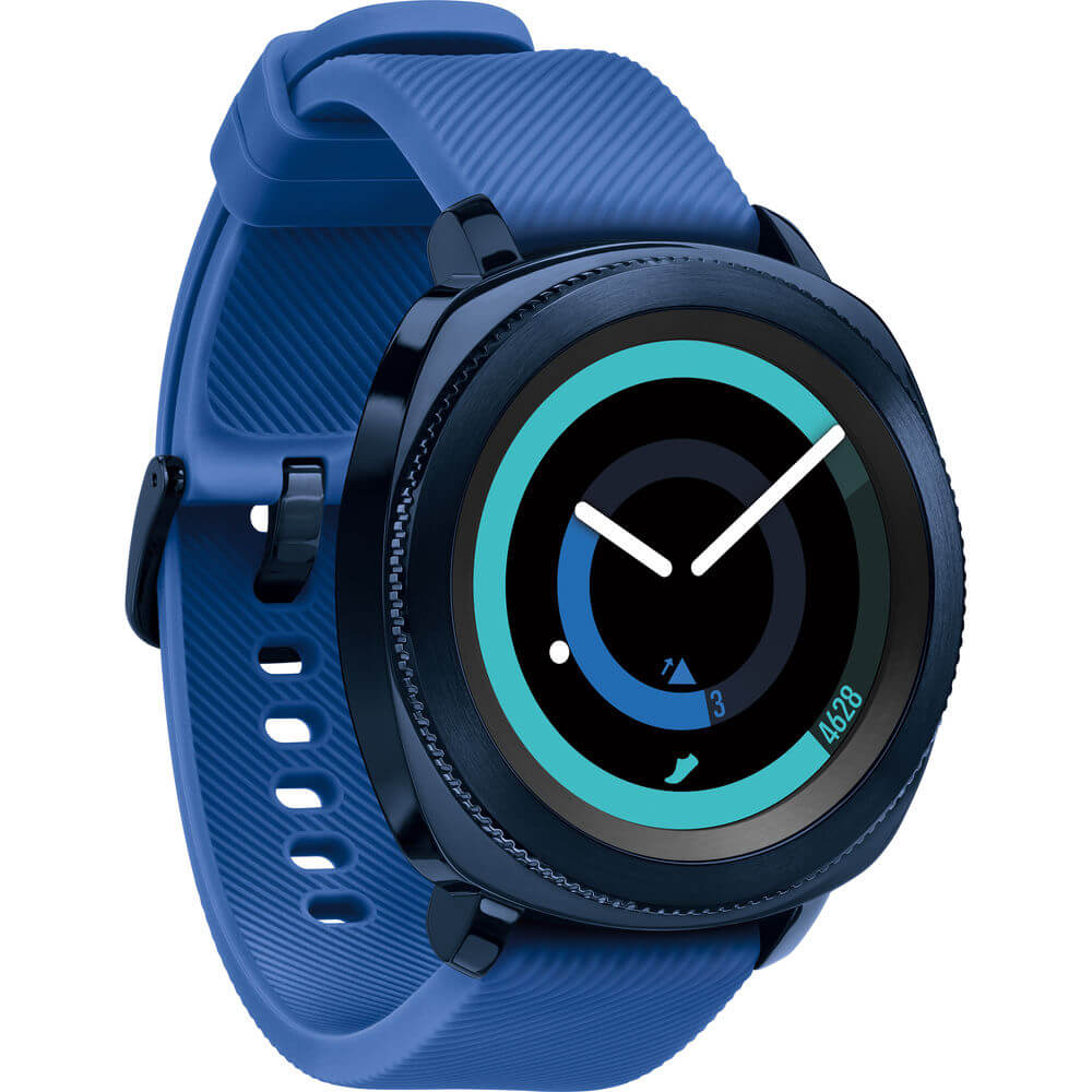Angled front view of the blue Samsung gear sport smart watch- SMR600NZBAXA