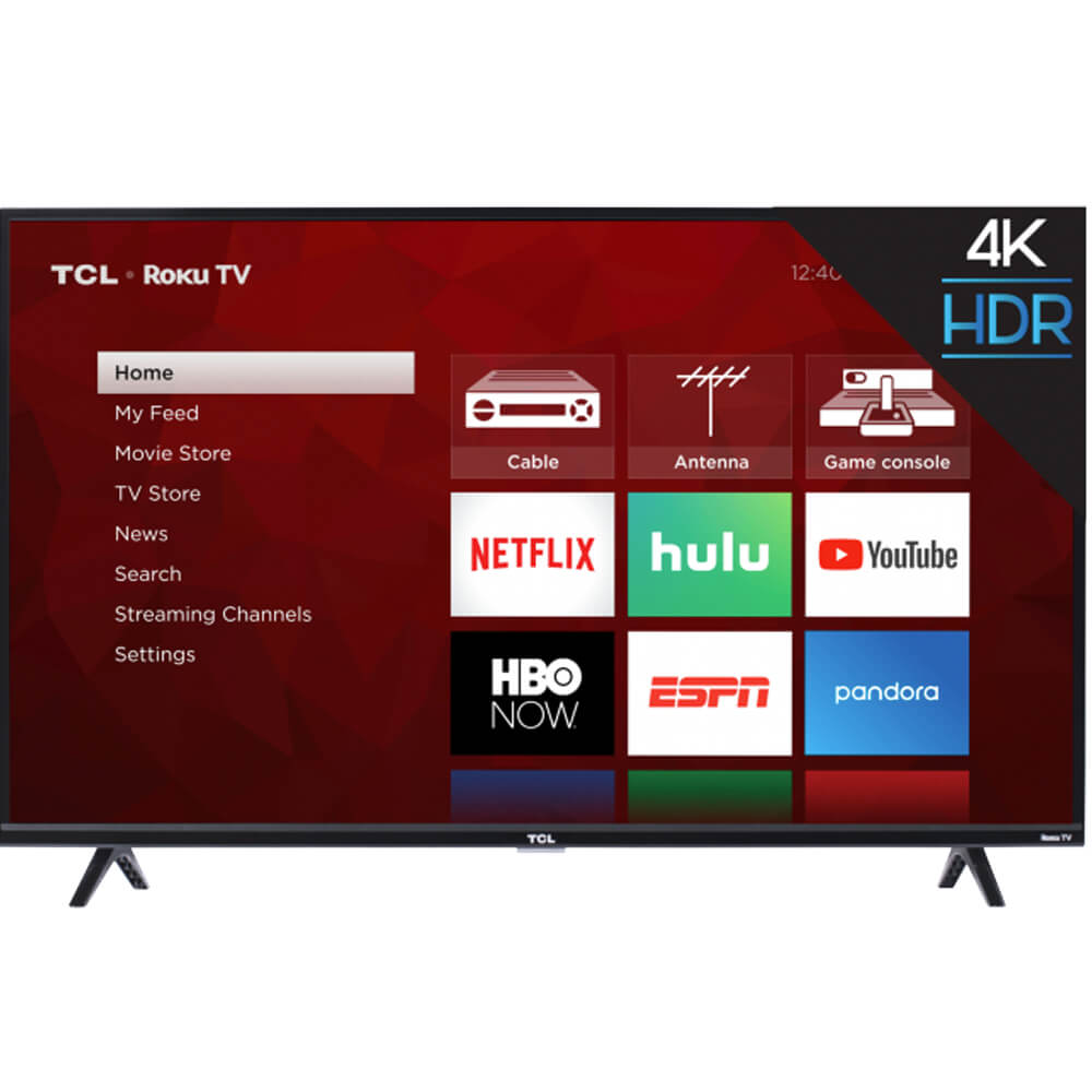 front view of the tcl 43 4k led smart tv model number 43s425