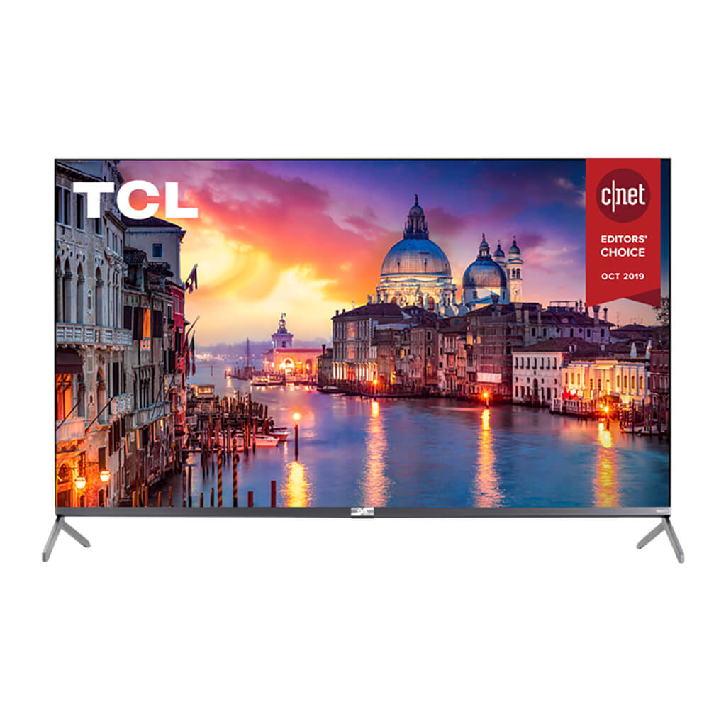 front view of the tcl 4k qled smart tv model number 65r625