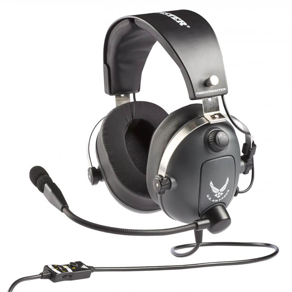 Angled side view of the Thrustmaster T.Flight U.S. Air Force Edition gaming headset featuring 50mm drivers