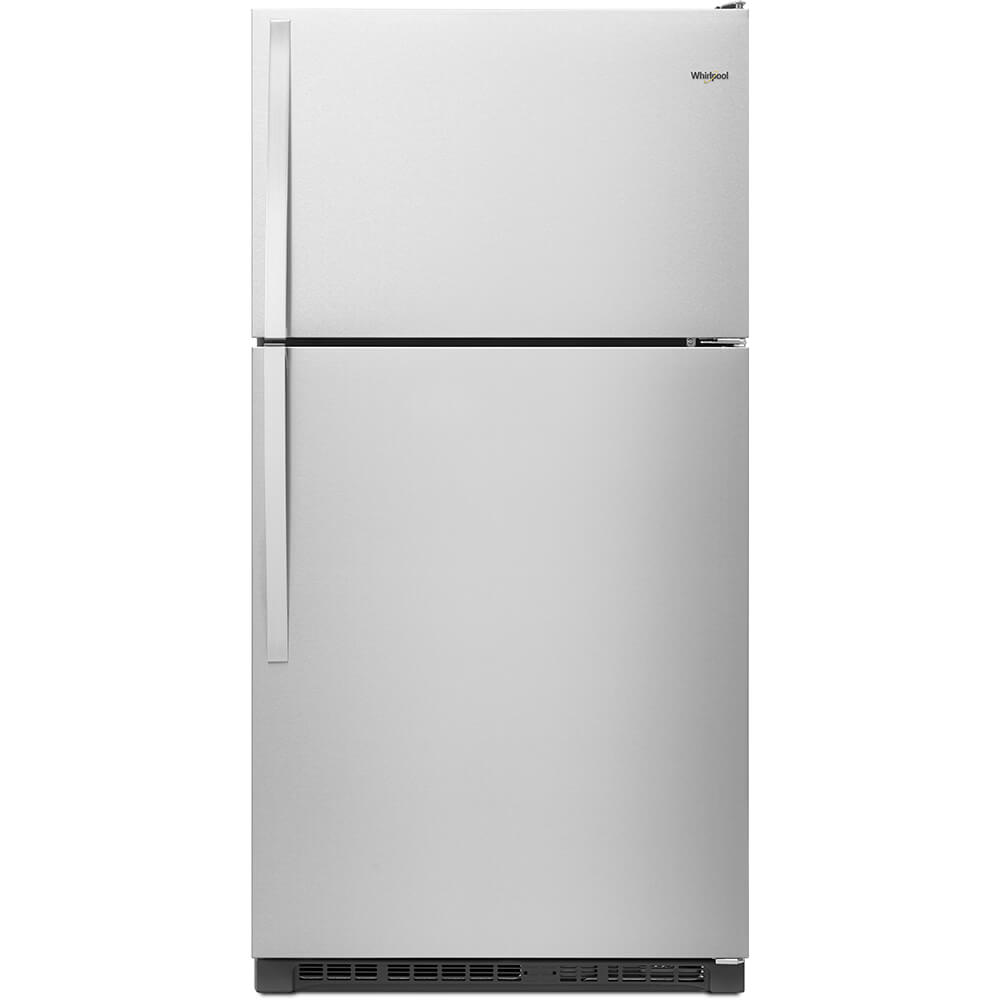 Front view of the 20 cubic foot stainless steel Whirlpool top freezer refrigerator- WRT311FZDM