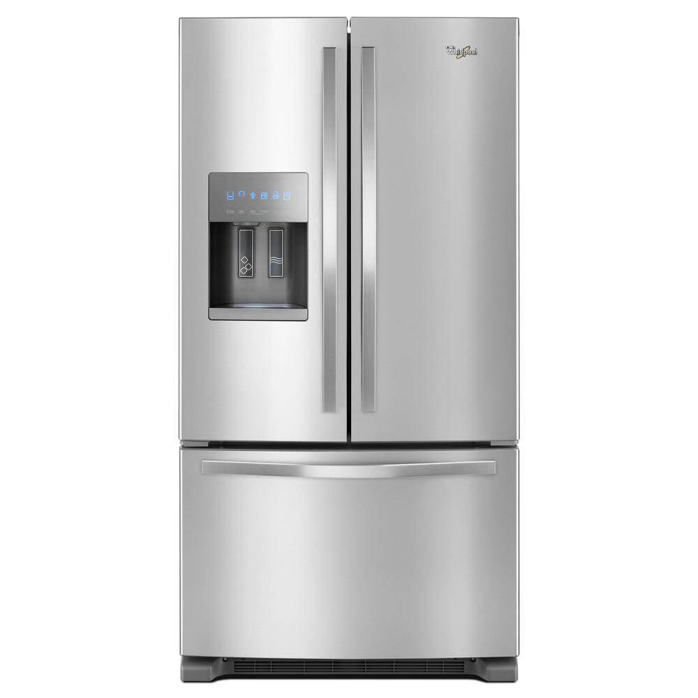 Front view of the 25 cubic foot stainless steel Whirlpool french door refrigerator- WRF555SDFZ