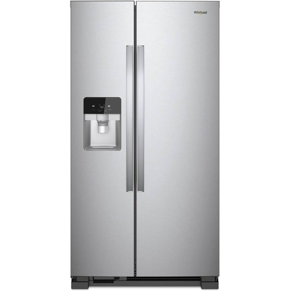Front view of the 25 cubic foot stainless steel Whirlpool side-by-side refrigerator- WRS325SDHZ