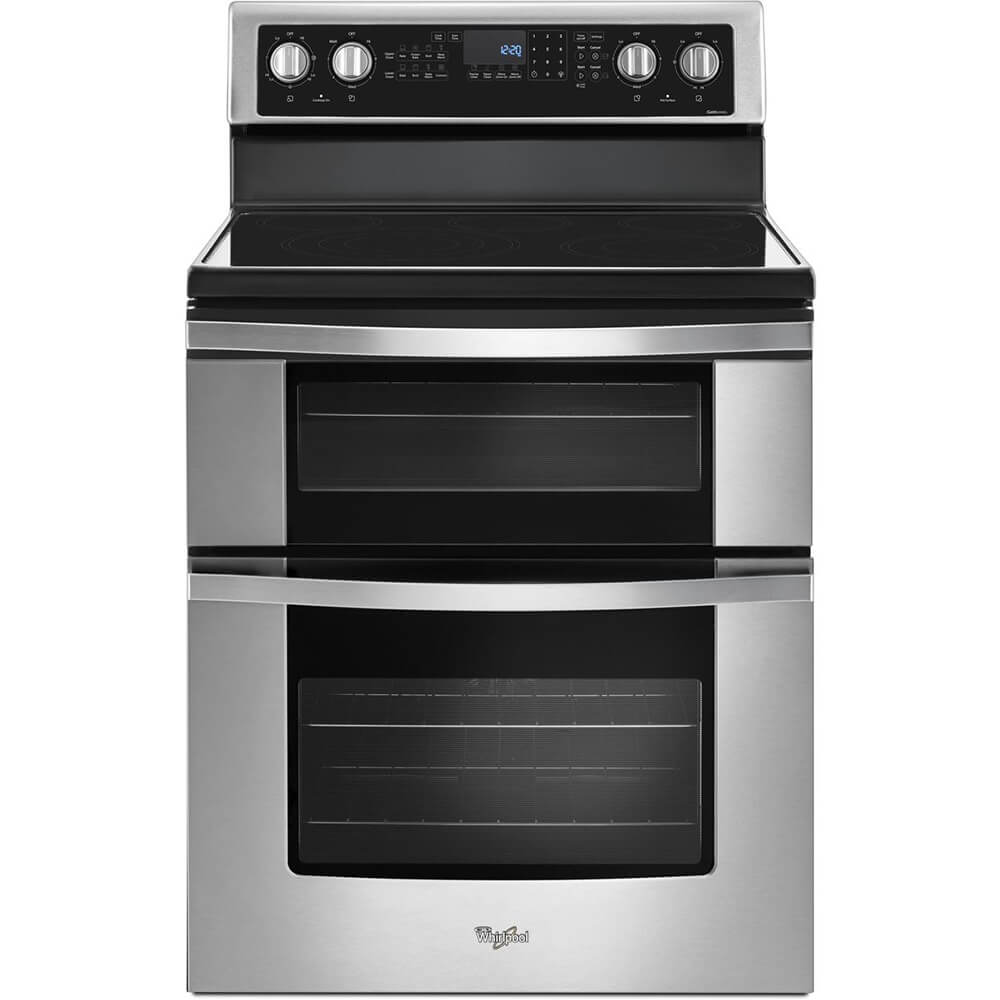 Front view of the 6.7 cubic foot stainless steel Whirlpool double oven range- WGE745C0FS