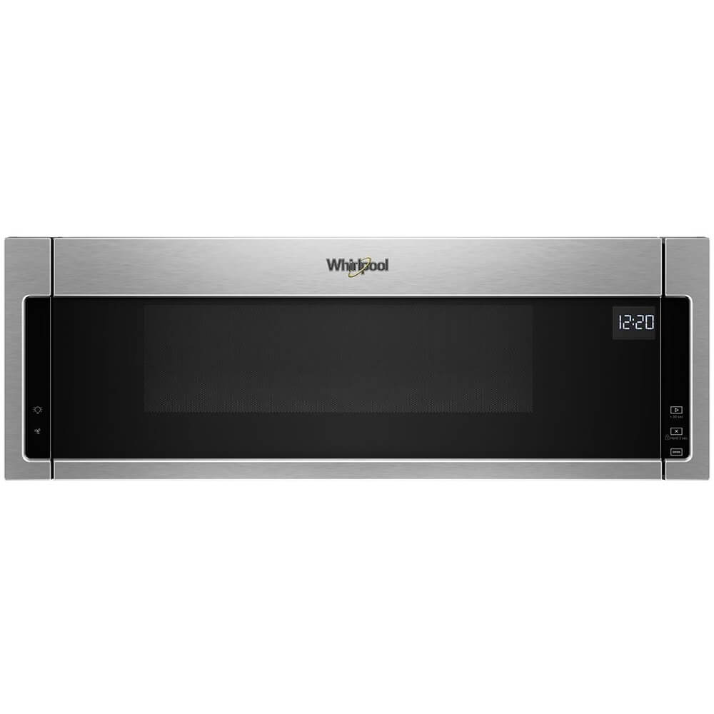 Front view of the 1.1 cubic foot stainless steel Whirlpool OTR microwave- WML55011HS